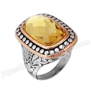 ajustable realizada en acero plateado anillo de mujer de forma flor